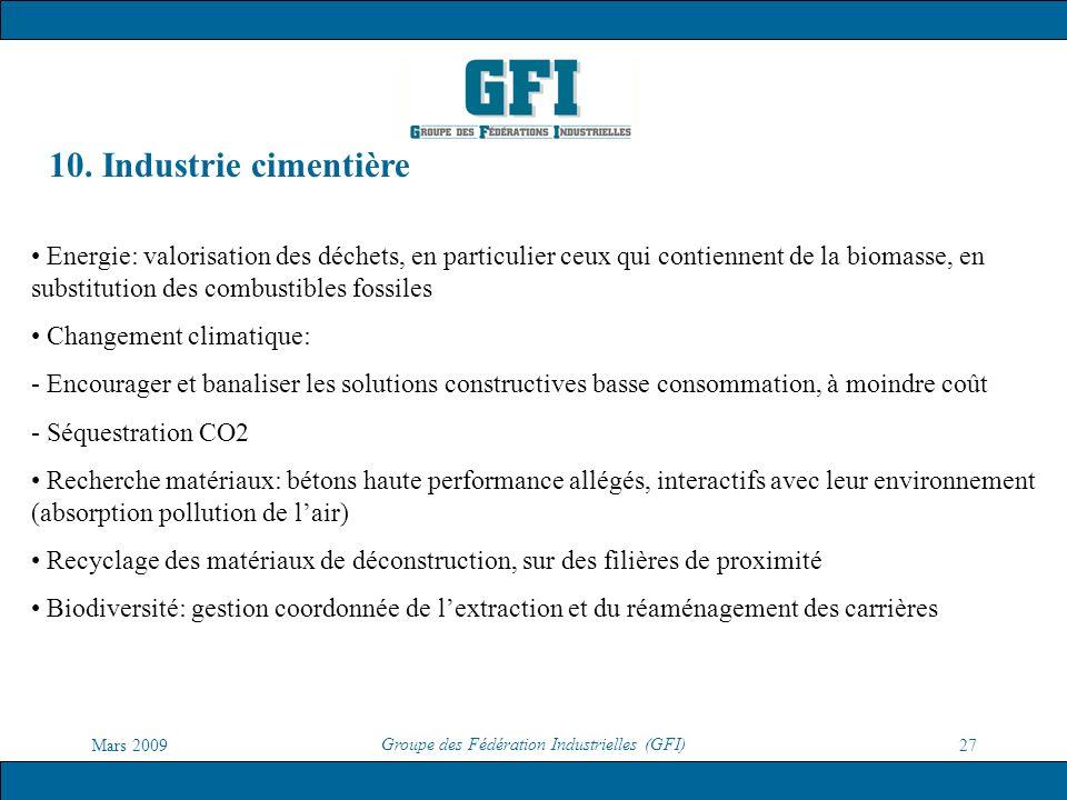 Mars 2009 Groupe des Fédération Industrielles (GFI) 27 10. Industrie cimentière Energie: valorisation des déchets, en particulier ceux qui contiennent