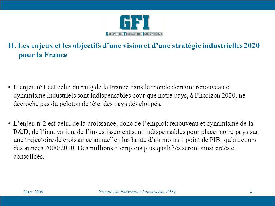 Mars 2009 Groupe des Fédération Industrielles (GFI) 4 II. Les enjeux et les objectifs dune vision et dune stratégie industrielles 2020 pour la France