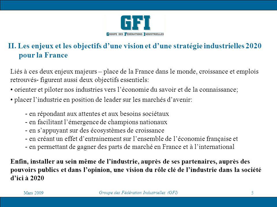 Mars 2009 Groupe des Fédération Industrielles (GFI) 5 II. Les enjeux et les objectifs dune vision et dune stratégie industrielles 2020 pour la France
