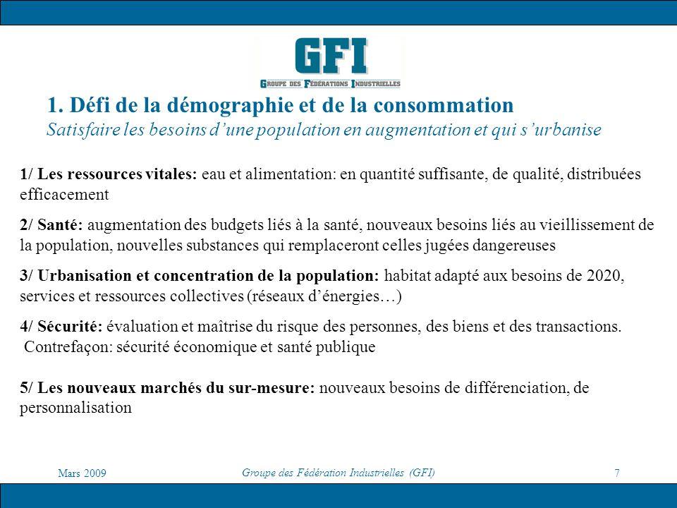 Mars 2009 Groupe des Fédération Industrielles (GFI) 7 1. Défi de la démographie et de la consommation Satisfaire les besoins dune population en augmen