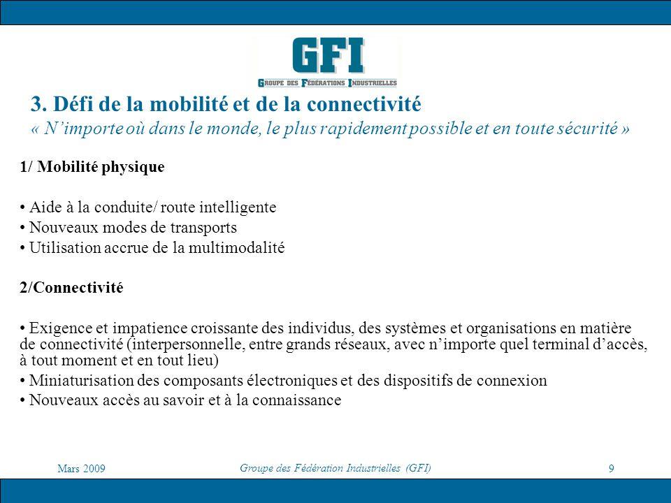 Mars 2009 Groupe des Fédération Industrielles (GFI) 9 3. Défi de la mobilité et de la connectivité « Nimporte où dans le monde, le plus rapidement pos