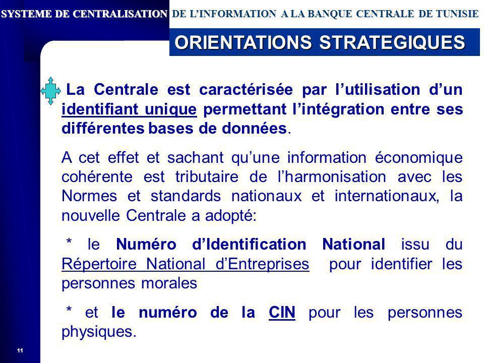 11 La Centrale est caractérisée par lutilisation dun identifiant unique permettant lintégration entre ses différentes bases de données.