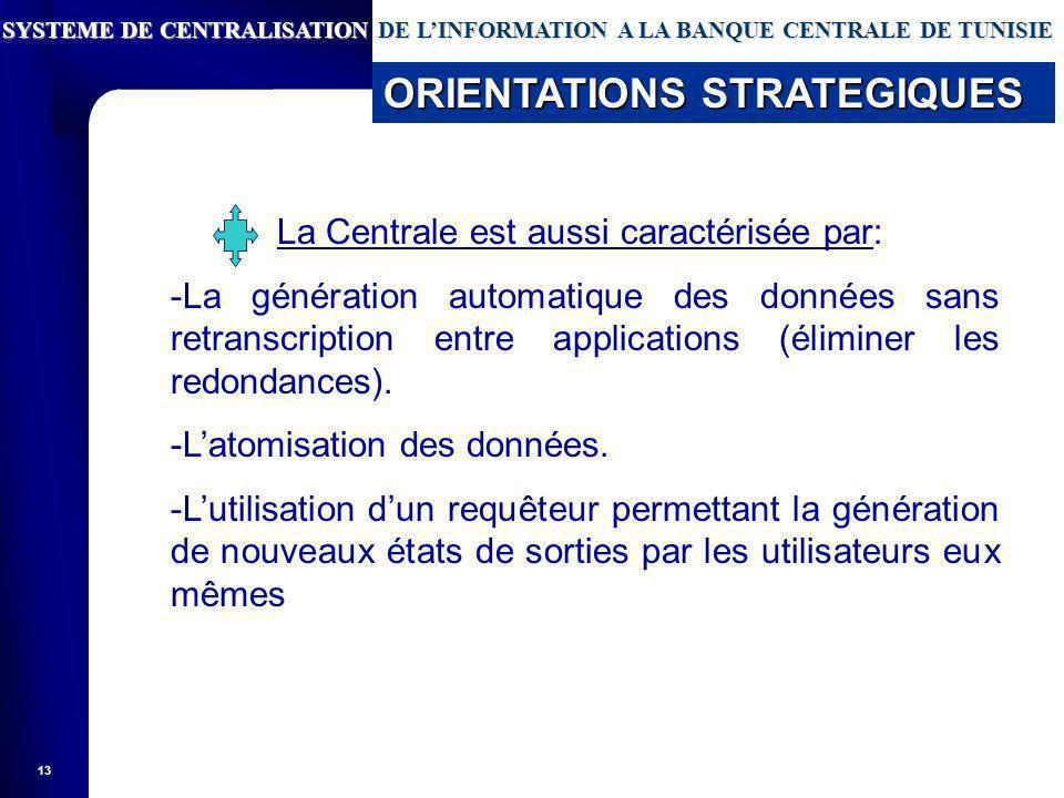 13 La Centrale est aussi caractérisée par: -La génération automatique des données sans retranscription entre applications (éliminer les redondances).