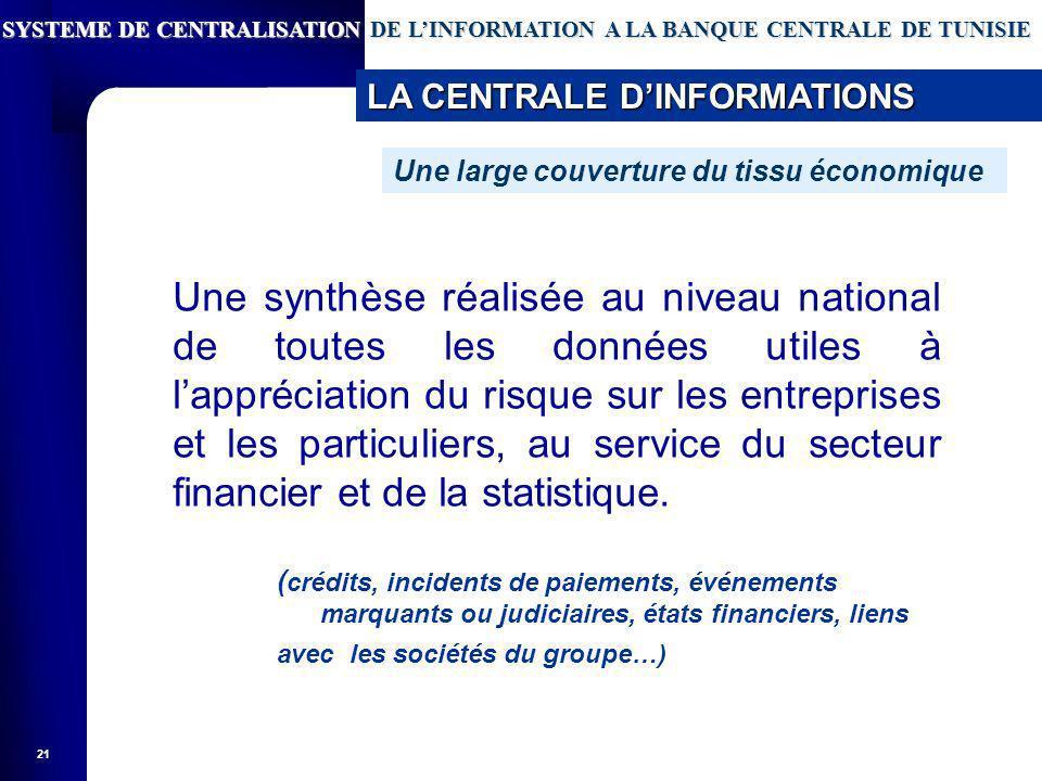 21 Une synthèse réalisée au niveau national de toutes les données utiles à lappréciation du risque sur les entreprises et les particuliers, au service du secteur financier et de la statistique.