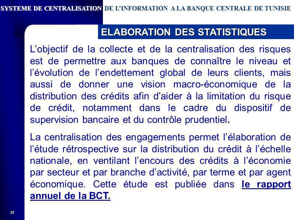 22. Lobjectif de la collecte et de la centralisation des risques est de permettre aux banques de connaître le niveau et lévolution de lendettement glo