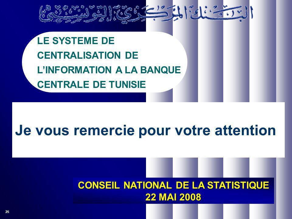 25 CONSEIL NATIONAL DE LA STATISTIQUE 22 MAI 2008 LE SYSTEME DE CENTRALISATION DE LINFORMATION A LA BANQUE CENTRALE DE TUNISIE Je vous remercie pour votre attention