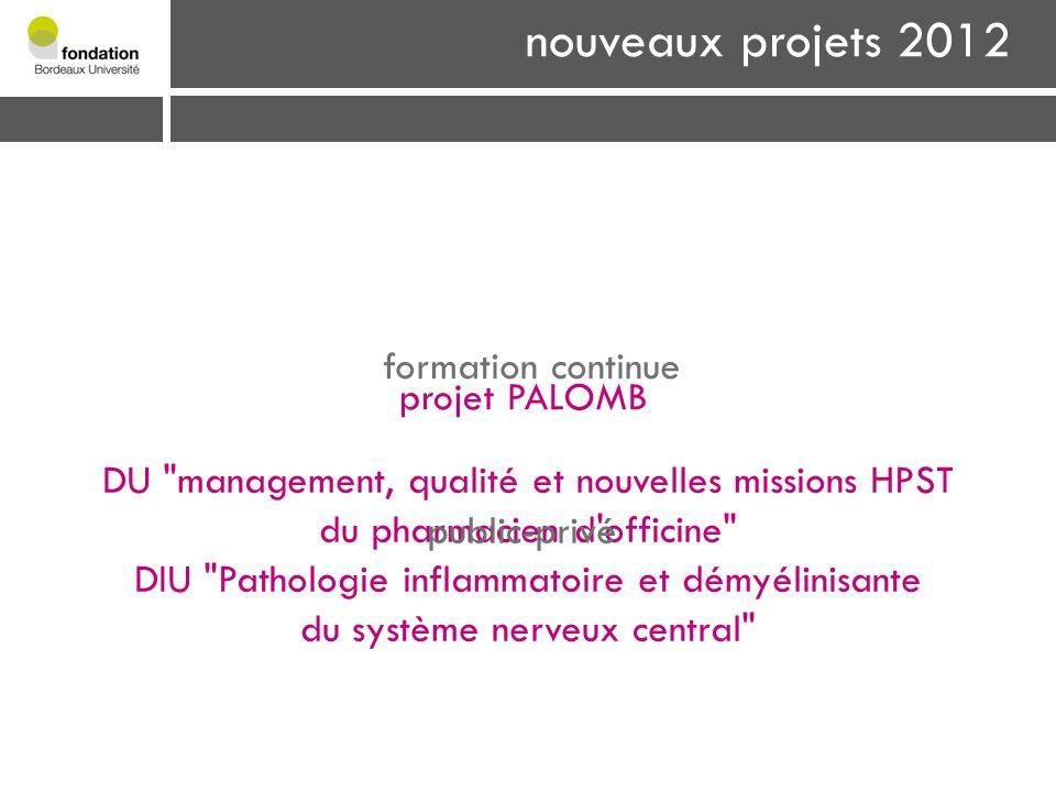 nouveaux projets 2012 formation continue DU management, qualité et nouvelles missions HPST du pharmacien d officine DIU Pathologie inflammatoire et démyélinisante du système nerveux central public-privé projet PALOMB