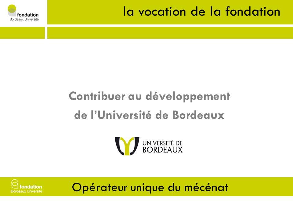 1- Vocation Contribuer au développement de lUniversité de Bordeaux la vocation de la fondation Opérateur unique du mécénat