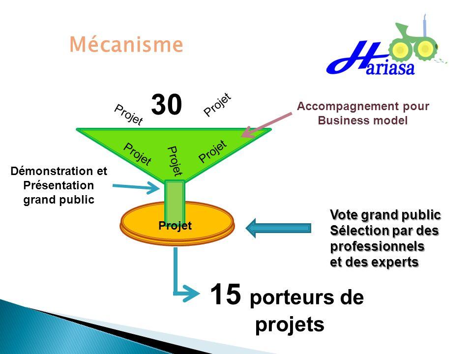 Mécanisme 30 Projet 15 porteurs de projets Démonstration et Présentation grand public Accompagnement pour Business model Vote grand public Sélection p
