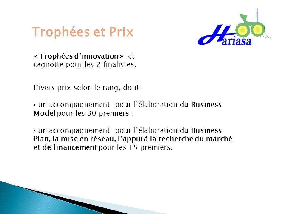 Trophées et Prix « Trophées dinnovation » et cagnotte pour les 2 finalistes. Divers prix selon le rang, dont : un accompagnement pour lélaboration du