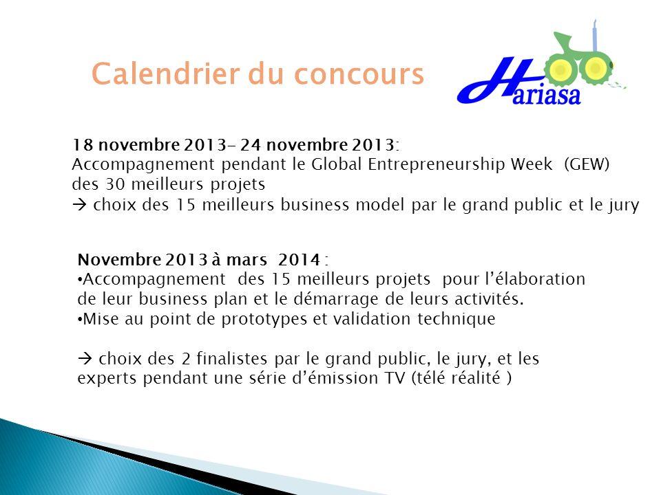 18 novembre 2013- 24 novembre 2013: Accompagnement pendant le Global Entrepreneurship Week (GEW) des 30 meilleurs projets choix des 15 meilleurs busin