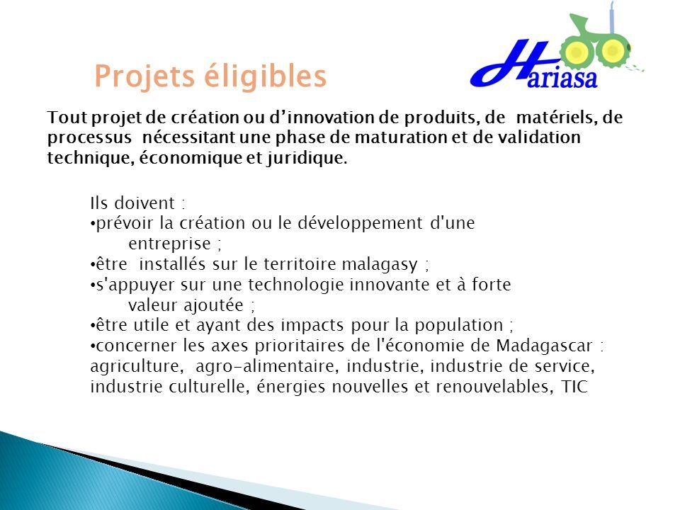 Projets éligibles Ils doivent : prévoir la création ou le développement d'une entreprise ; être installés sur le territoire malagasy ; s'appuyer sur u