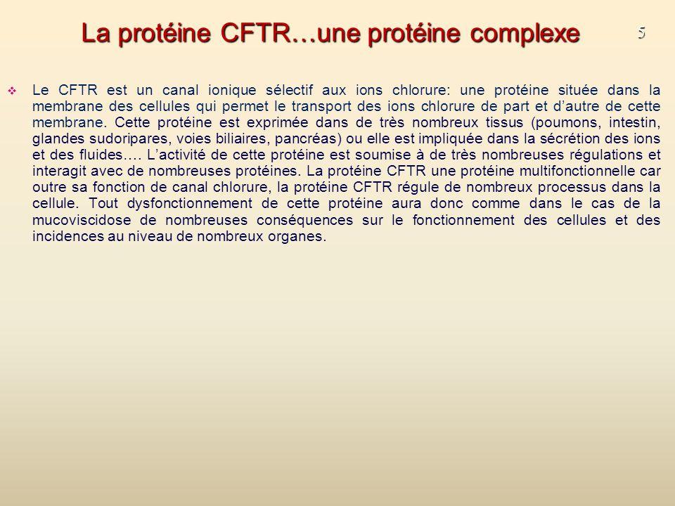 5 La protéine CFTR…une protéine complexe Le CFTR est un canal ionique sélectif aux ions chlorure: une protéine située dans la membrane des cellules qui permet le transport des ions chlorure de part et dautre de cette membrane.