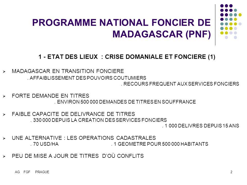 AG FGF PRAGUE3 PROGRAMME NATIONAL FONCIER DE MADAGASCAR (PNF) 1 - ETAT DES LIEUX : CRISE DOMANIALE ET FONCIERE (2) LE CAS DAMBATONDRAZAKA (GRENIER A RIZ DU PAYS).