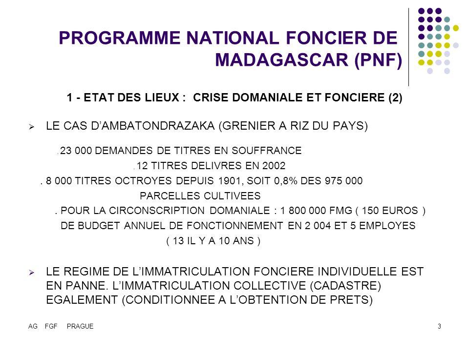 AG FGF PRAGUE4 PROGRAMME NATIONAL FONCIER DE MADAGASCAR (PNF) 1 - ETAT DES LIEUX : CRISE DOMANIALE ET FONCIERE (3) QUESTION : LETAT « CENTRAL » EST IL ENCORE EN MESURE DE GERER LES TERRES AGRICOLES ET URBAINES .