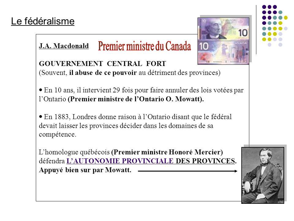 J.A. Macdonald GOUVERNEMENT CENTRAL FORT (Souvent, il abuse de ce pouvoir au détriment des provinces) En 10 ans, il intervient 29 fois pour faire annu