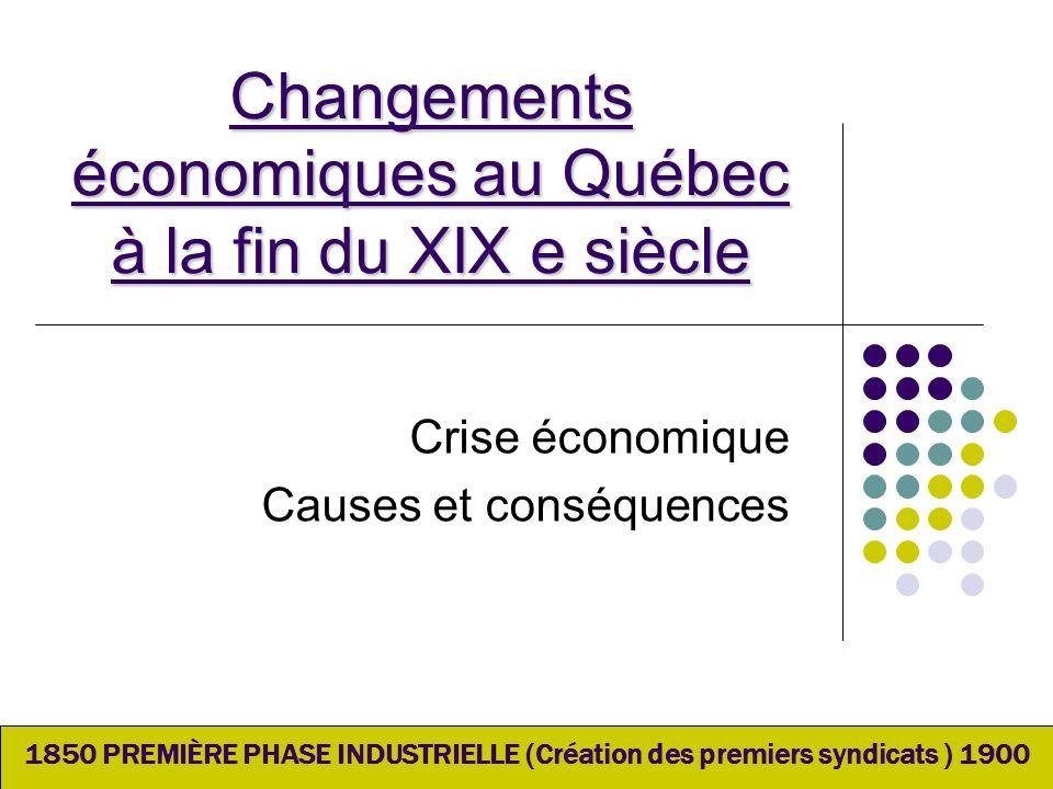 Changements économiques au Québec à la fin du XIX e siècle Crise économique Causes et conséquences 1850 PREMIÈRE PHASE INDUSTRIELLE (Création des prem