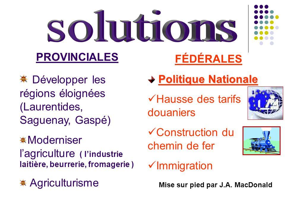 PROVINCIALES Développer les régions éloignées (Laurentides, Saguenay, Gaspé) Moderniser lagriculture ( lindustrie laitière, beurrerie, fromagerie ) Ag