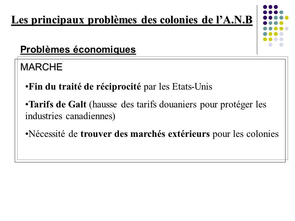 Les principaux problèmes des colonies de lA.N.B Problèmes économiquesMARCHE Fin du traité de réciprocité par les Etats-Unis Tarifs de Galt (hausse des
