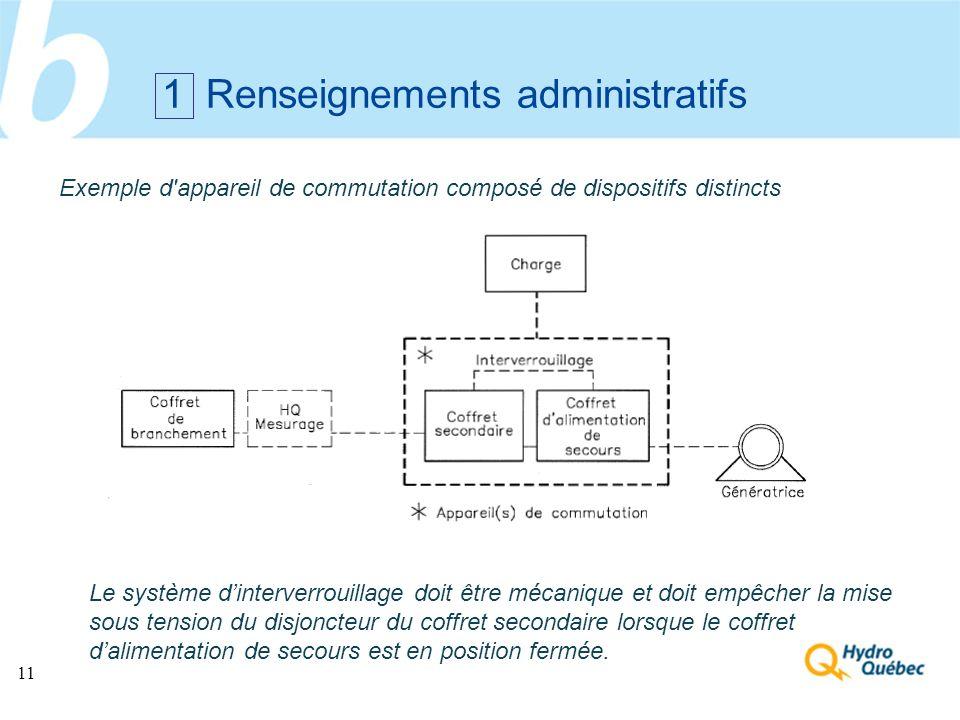 11 1 Renseignements administratifs Exemple d'appareil de commutation composé de dispositifs distincts Le système dinterverrouillage doit être mécaniqu