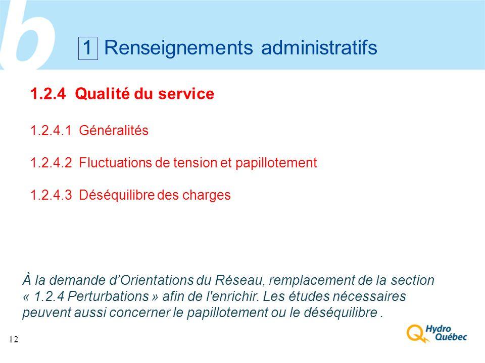 12 1 Renseignements administratifs 1.2.4 Qualité du service 1.2.4.1 Généralités 1.2.4.2 Fluctuations de tension et papillotement 1.2.4.3 Déséquilibre