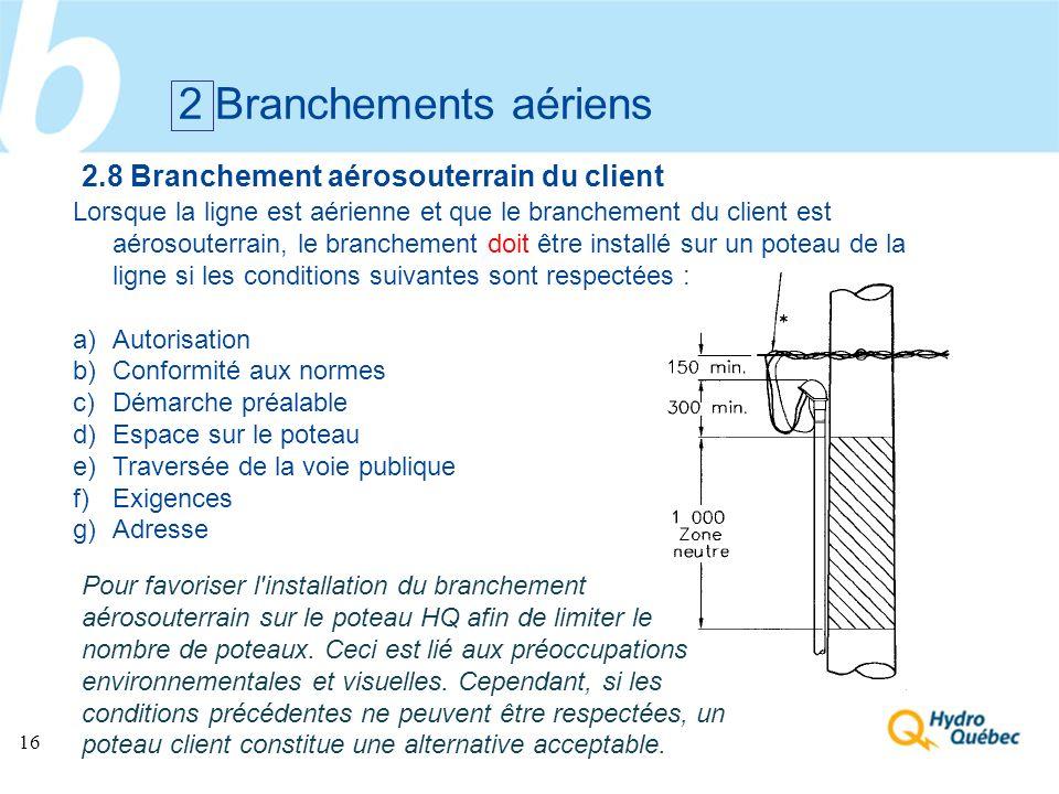 16 Lorsque la ligne est aérienne et que le branchement du client est aérosouterrain, le branchement doit être installé sur un poteau de la ligne si le