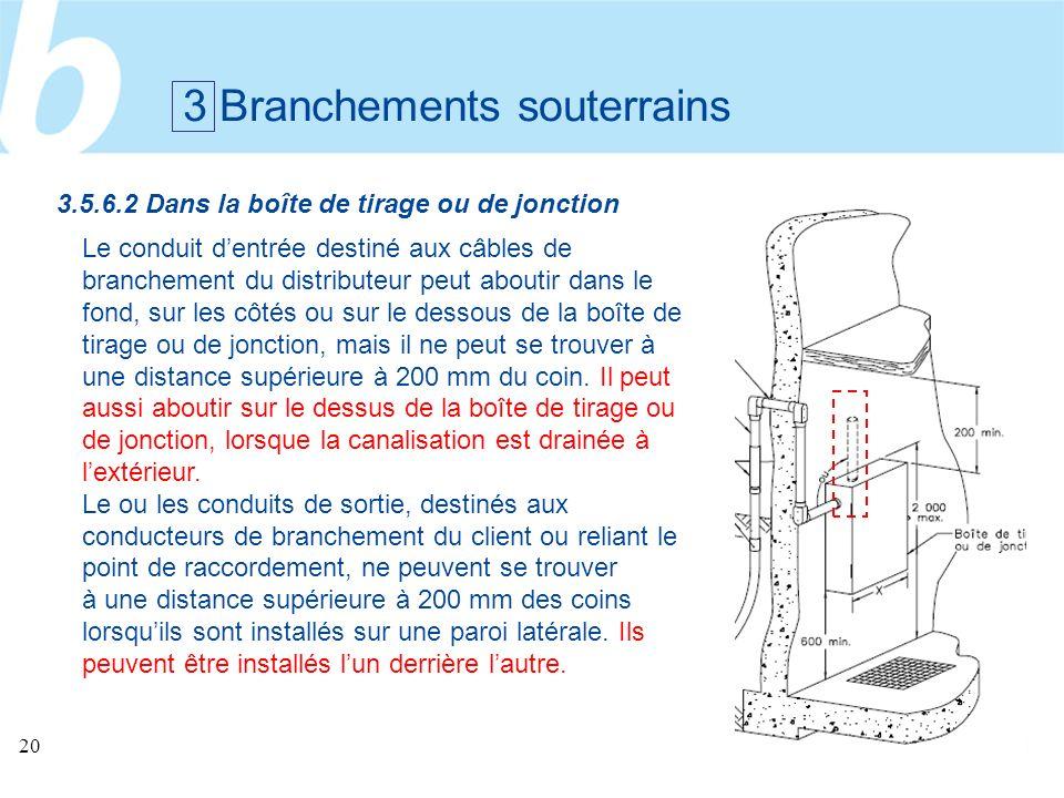 20 3 Branchements souterrains Le conduit dentrée destiné aux câbles de branchement du distributeur peut aboutir dans le fond, sur les côtés ou sur le