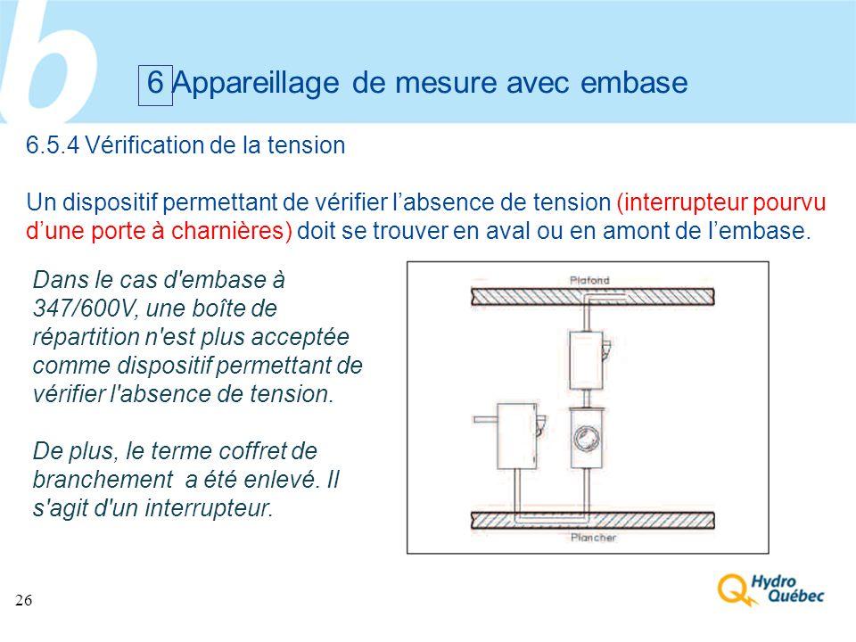 26 6 Appareillage de mesure avec embase 6.5.4 Vérification de la tension Un dispositif permettant de vérifier labsence de tension (interrupteur pourvu