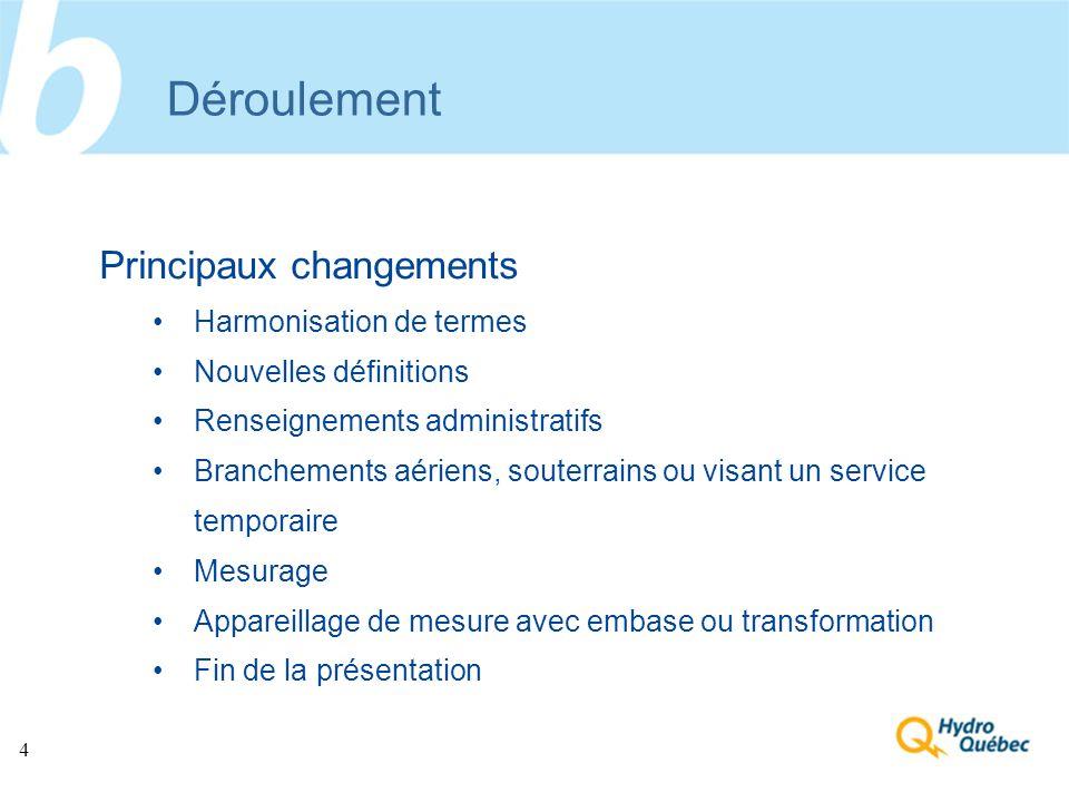 4 Déroulement Principaux changements Harmonisation de termes Nouvelles définitions Renseignements administratifs Branchements aériens, souterrains ou