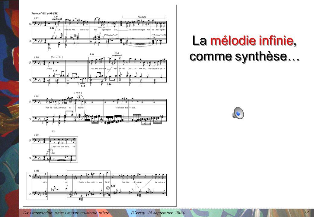 De l'interaction dans l'œuvre musicale mixte (Cerisy, 24 septembre 2006) 13 La mélodie infinie, comme synthèse…