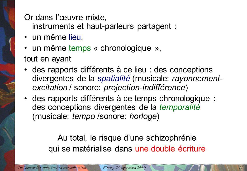 De l'interaction dans l'œuvre musicale mixte (Cerisy, 24 septembre 2006) 17 Or dans lœuvre mixte, instruments et haut-parleurs partagent : un même lie