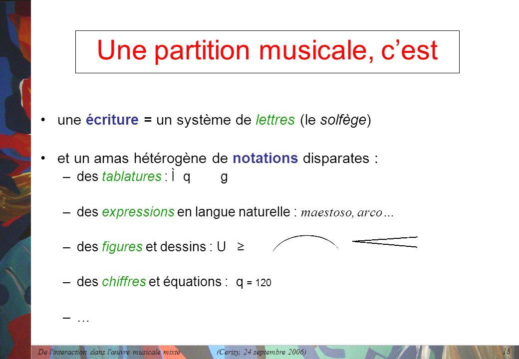 De l'interaction dans l'œuvre musicale mixte (Cerisy, 24 septembre 2006) 18 Une partition musicale, cest une écriture = un système de lettres (le solf