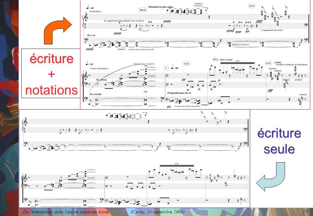 De l'interaction dans l'œuvre musicale mixte (Cerisy, 24 septembre 2006) 20 écriture écriture + notations écriture seule