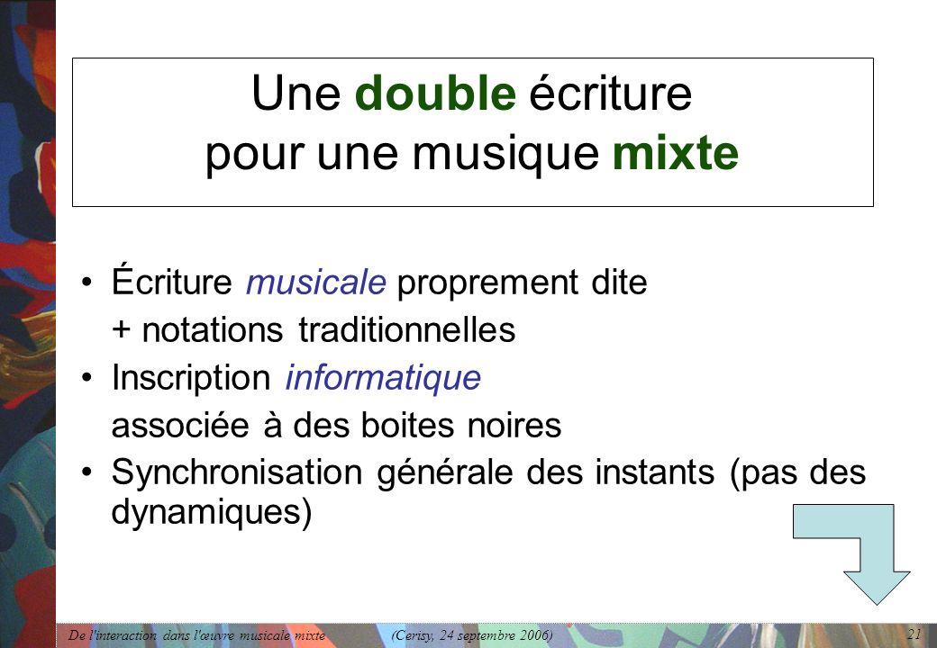 De l'interaction dans l'œuvre musicale mixte (Cerisy, 24 septembre 2006) 21 Une double écriture pour une musique mixte Écriture musicale proprement di