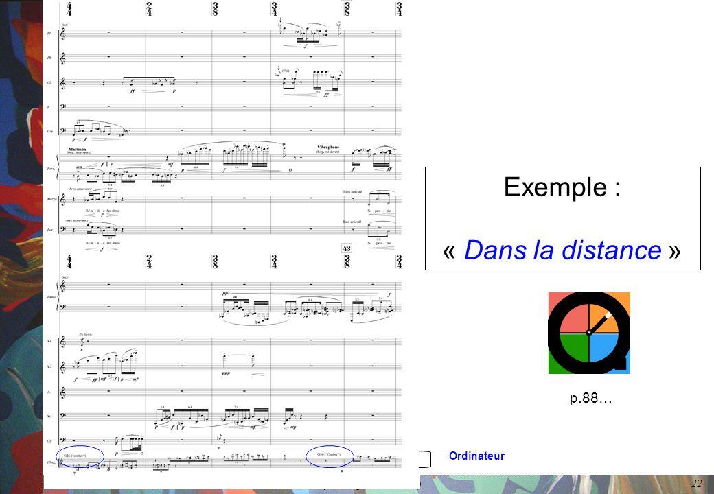 De l'interaction dans l'œuvre musicale mixte (Cerisy, 24 septembre 2006) 22 Exemple : « Dans la distance » Ordinateur p.88…