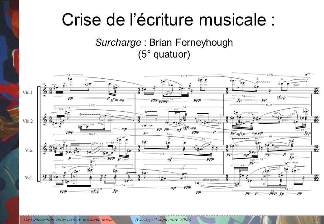 De l'interaction dans l'œuvre musicale mixte (Cerisy, 24 septembre 2006) 24 Crise de lécriture musicale : Surcharge : Brian Ferneyhough (5° quatuor)