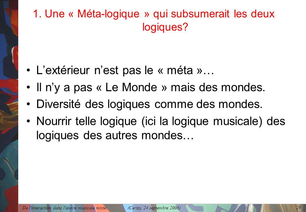De l'interaction dans l'œuvre musicale mixte (Cerisy, 24 septembre 2006) 29 1. Une « Méta-logique » qui subsumerait les deux logiques? Lextérieur nest