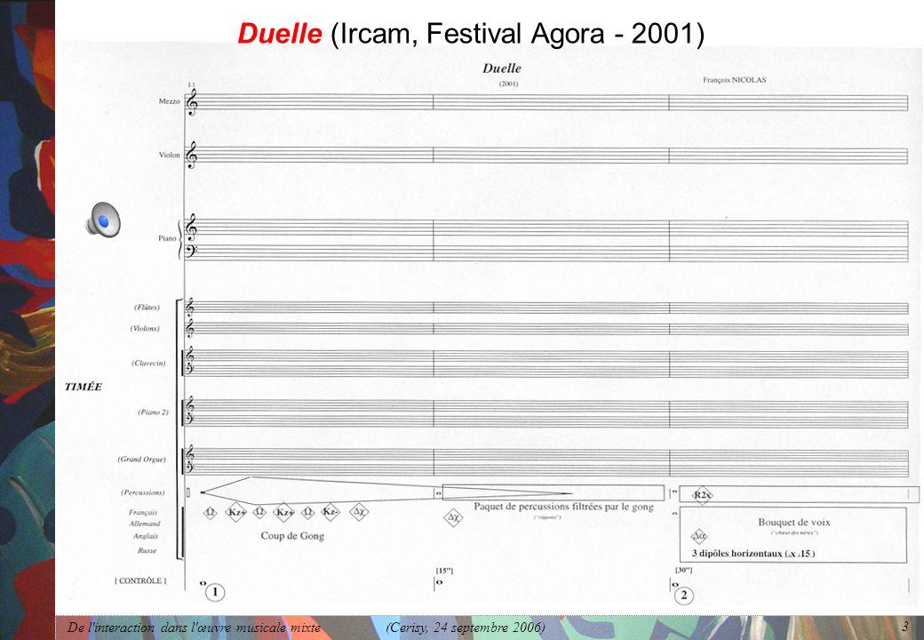 De l'interaction dans l'œuvre musicale mixte (Cerisy, 24 septembre 2006) 3 Duelle (Ircam, Festival Agora - 2001)
