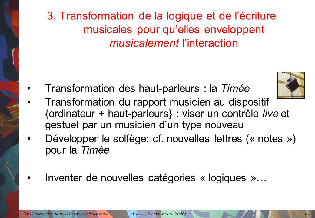 De l'interaction dans l'œuvre musicale mixte (Cerisy, 24 septembre 2006) 31 3. Transformation de la logique et de lécriture musicales pour quelles env