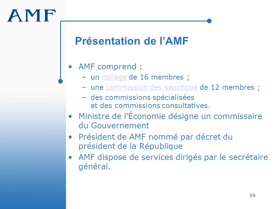 10 Présentation de lAMF AMF comprend : –un collège de 16 membres ;collège –une commission des sanctions de 12 membres ;commission des sanctions –des c