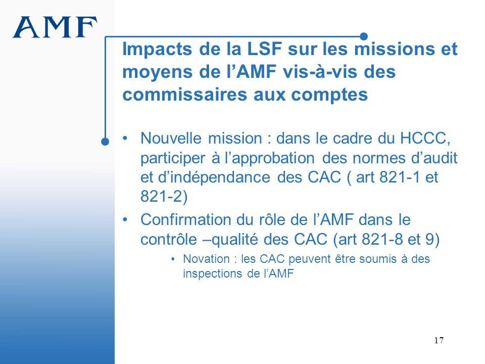 17 Impacts de la LSF sur les missions et moyens de lAMF vis-à-vis des commissaires aux comptes Nouvelle mission : dans le cadre du HCCC, participer à
