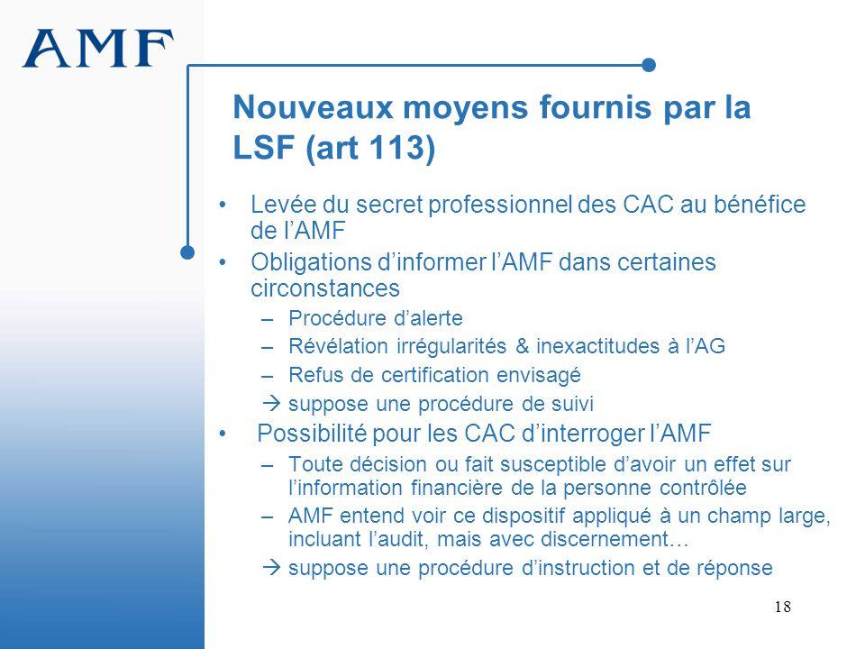 18 Nouveaux moyens fournis par la LSF (art 113) Levée du secret professionnel des CAC au bénéfice de lAMF Obligations dinformer lAMF dans certaines ci