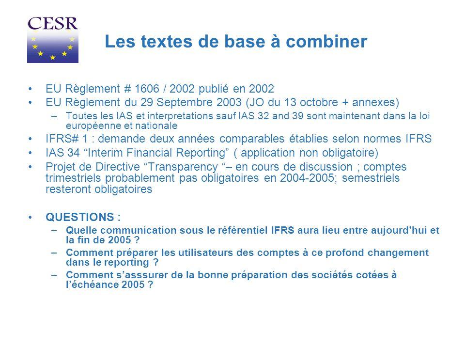 Les textes de base à combiner EU Règlement # 1606 / 2002 publié en 2002 EU Règlement du 29 Septembre 2003 (JO du 13 octobre + annexes) –Toutes les IAS