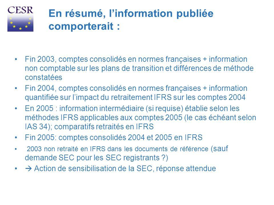 En résumé, linformation publiée comporterait : Fin 2003, comptes consolidés en normes françaises + information non comptable sur les plans de transiti