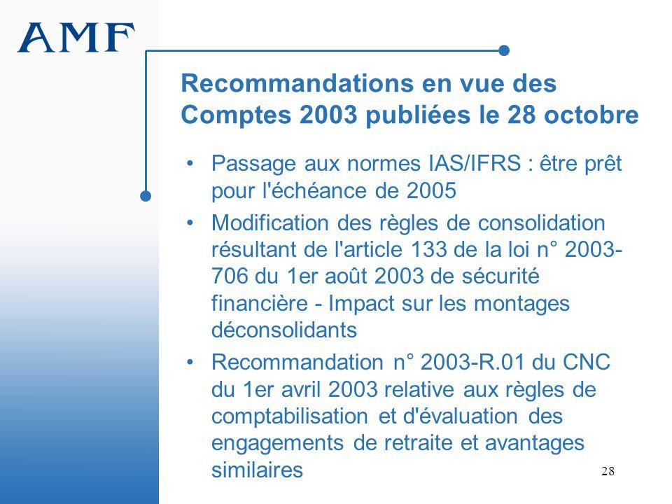 28 Recommandations en vue des Comptes 2003 publiées le 28 octobre Passage aux normes IAS/IFRS : être prêt pour l'échéance de 2005 Modification des règ