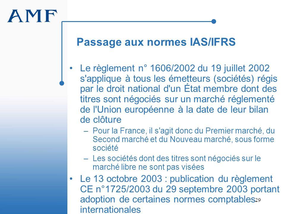 29 Passage aux normes IAS/IFRS Le règlement n° 1606/2002 du 19 juillet 2002 s'applique à tous les émetteurs (sociétés) régis par le droit national d'u