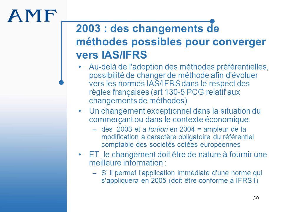 30 2003 : des changements de méthodes possibles pour converger vers IAS/IFRS Au-delà de l'adoption des méthodes préférentielles, possibilité de change