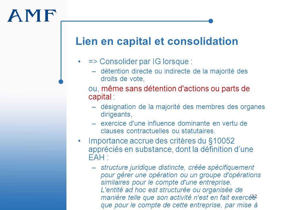 32 Lien en capital et consolidation => Consolider par IG lorsque : –détention directe ou indirecte de la majorité des droits de vote, ou, même sans dé
