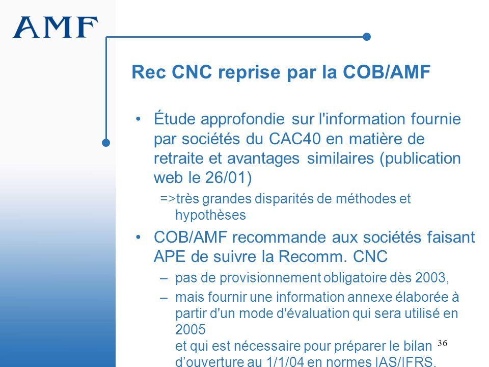 36 Rec CNC reprise par la COB/AMF Étude approfondie sur l'information fournie par sociétés du CAC40 en matière de retraite et avantages similaires (pu
