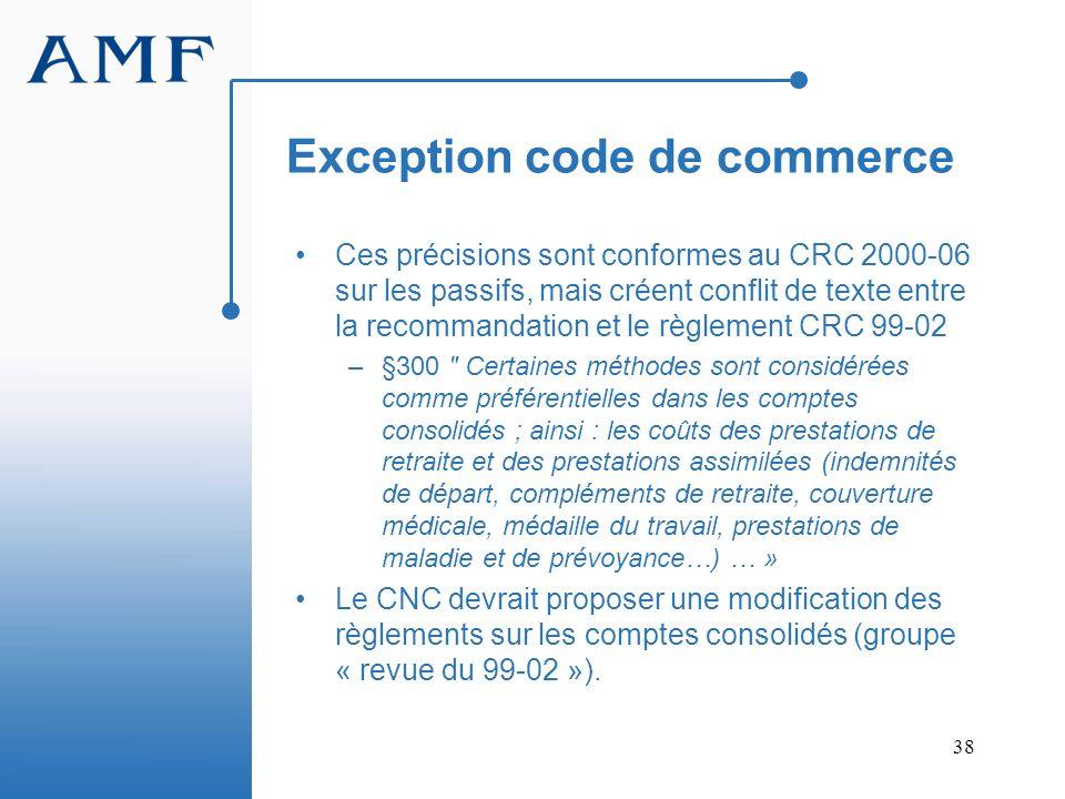 38 Exception code de commerce Ces précisions sont conformes au CRC 2000-06 sur les passifs, mais créent conflit de texte entre la recommandation et le